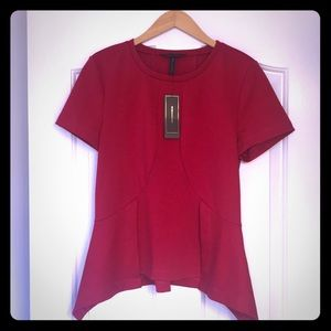 Crimson Red BCBG peplum short-sleeve shirt